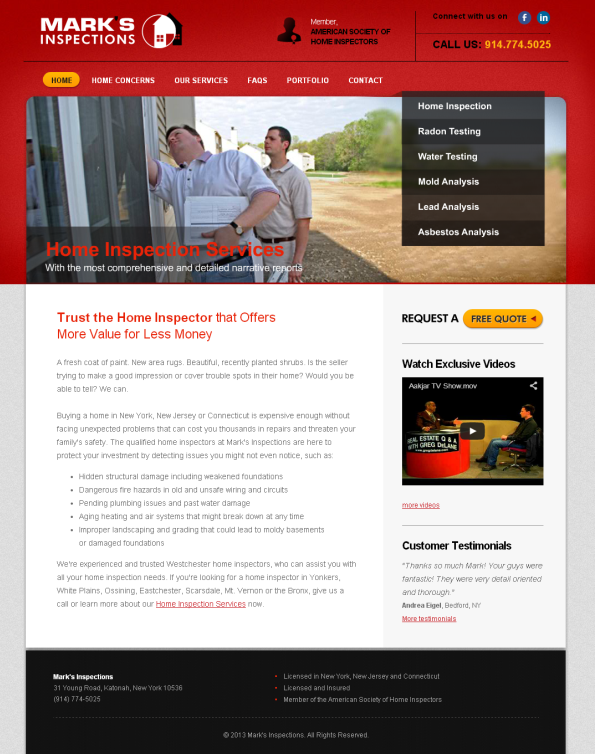 marks inspections Website Design for Marks Inspections   Home Inspection services