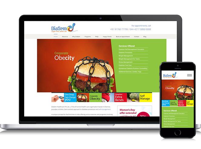 healthcare website Website Design for DiaSem Healthcare