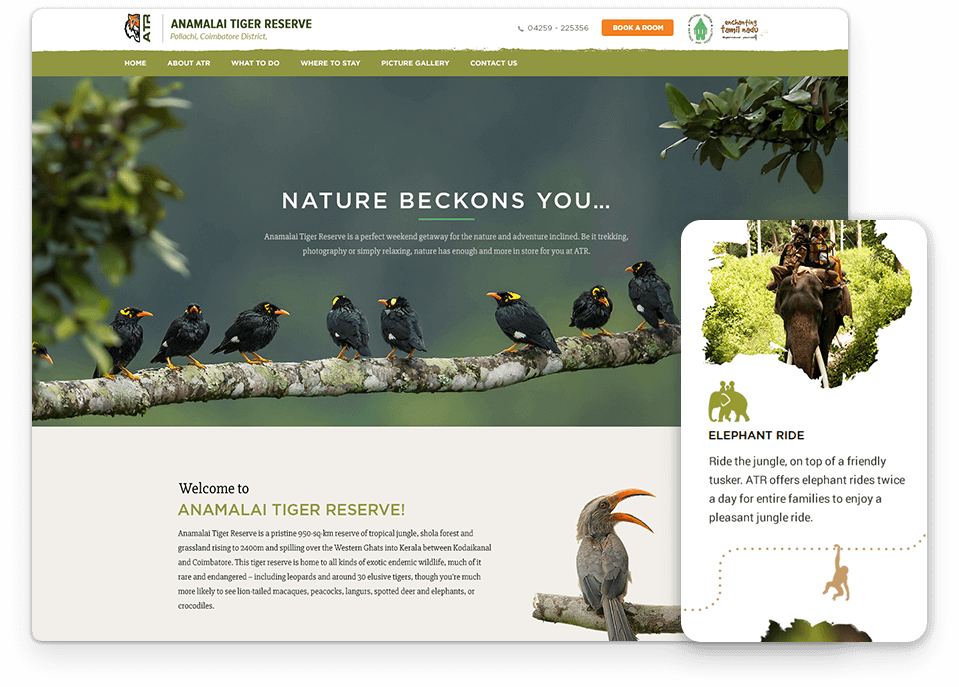 Anamalai Tiger Reserve website design
