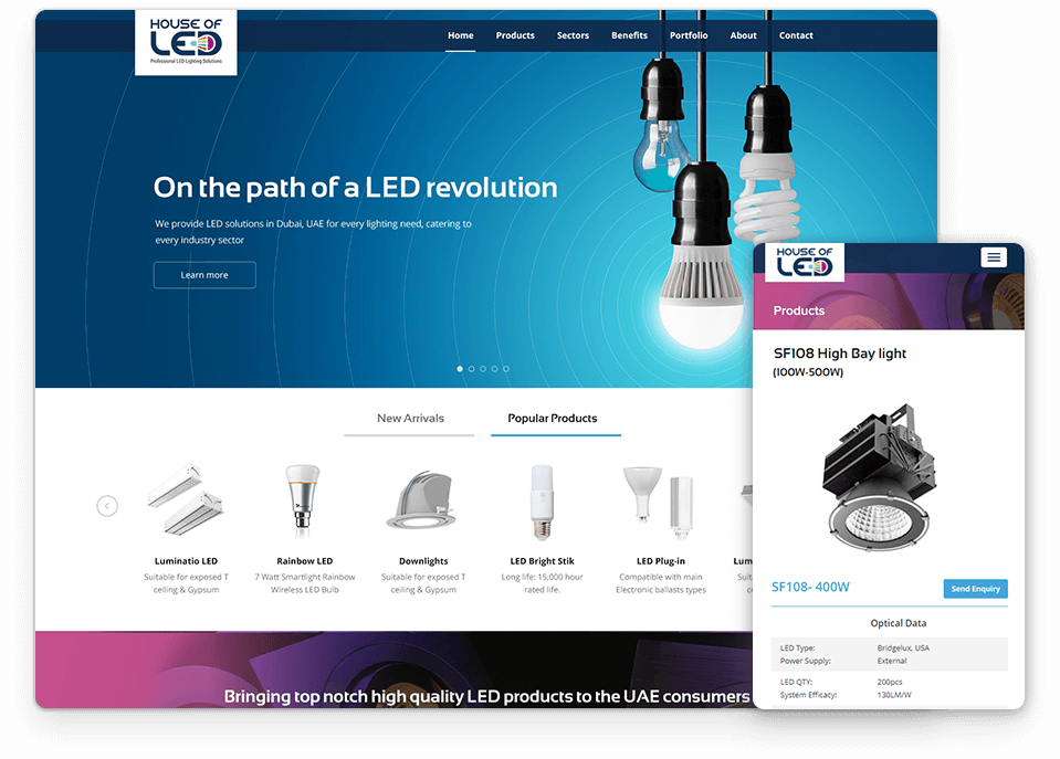 House of LED website design
