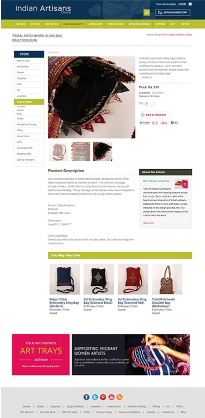Indian Artisans web design