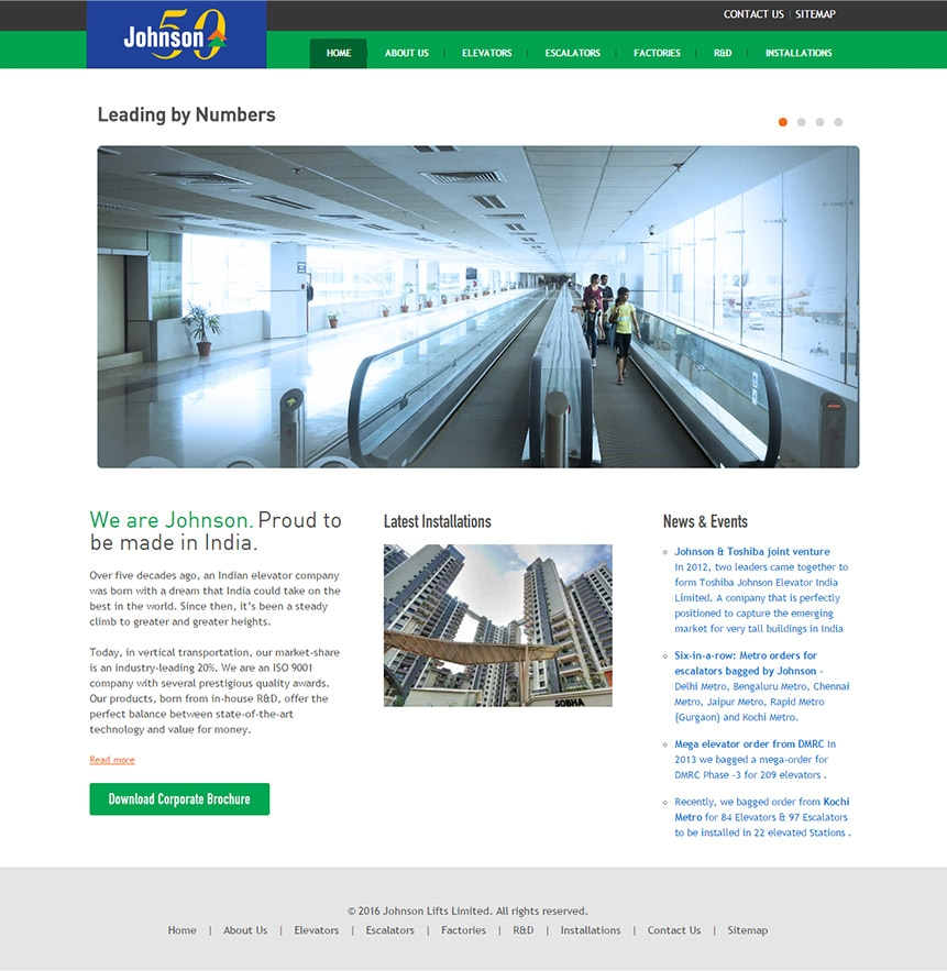 Johnson Lifts website design