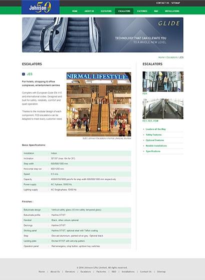 Johnson Lifts web design